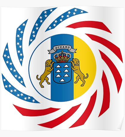 Canarian American Multinational Patriot Flag Series Poster