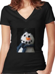 Knitted snowman Women's Fitted V-Neck T-Shirt