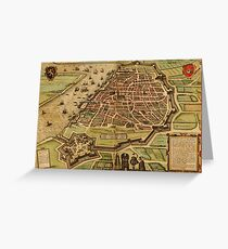 Antwerpen Vintage map.Geography Belgium ,city view,building,political,Lithography,historical fashion,geo design,Cartography,Country,Science,history,urban Greeting Card