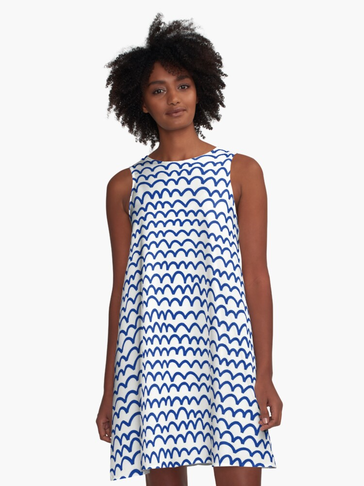 Wavy Pattern - Navy Blue on White A-Line Dress Front