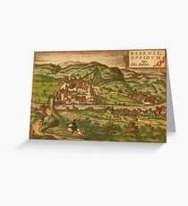 Baden Vintage map.Geography Germany ,city view,building,political,Lithography,historical fashion,geo design,Cartography,Country,Science,history,urban Greeting Card