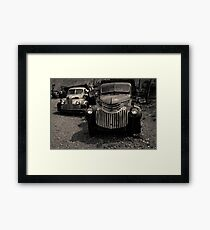 Two Old Trucks Toned Framed Print