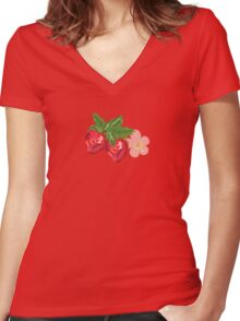 Strawberry Botanical Women's Fitted V-Neck T-Shirt