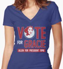 Gracie Allen for President (see artist note) Women's Fitted V-Neck T-Shirt