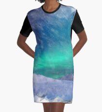 Aurora Borealis Watercolor Print Graphic T-Shirt Dress