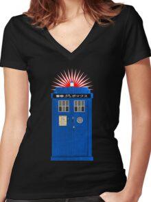 Japanese TARDIS Women's Fitted V-Neck T-Shirt