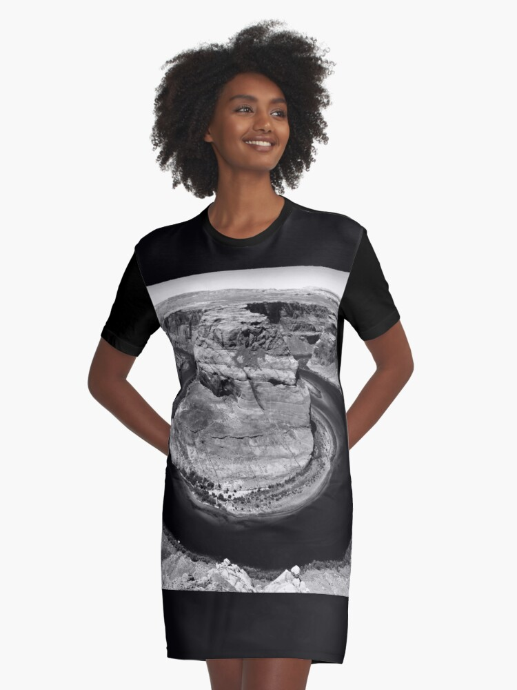 Horseshoe Bend in Black & White Graphic T-Shirt Dress Front