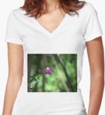A Little Fushia Among the Green Women's Fitted V-Neck T-Shirt