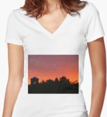 Red Sunset in Arizona Women's Fitted V-Neck T-Shirt