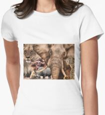"""A COLLAGE OF AFRICA'S """"BIG 5"""" -  Womens Fitted T-Shirt"""