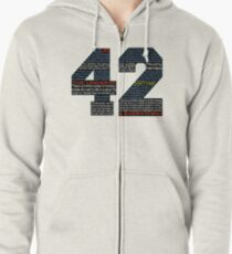Hitchhiker's Guide 42 Quotes Zipped Hoodie