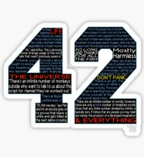 Hitchhiker's Guide 42 Quotes Sticker