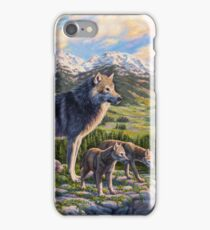 Mountain Valley Wolves - Mother Wolf and Pups iPhone Case/Skin