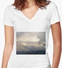 Magnificant Clouds Women's Fitted V-Neck T-Shirt