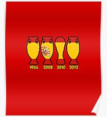 Spain World Cup and European Championship Trophy Cabinet Poster