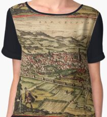 Barcelona Vintage map.Geography Spain ,city view,building,political,Lithography,historical fashion,geo design,Cartography,Country,Science,history,urban Chiffon Top