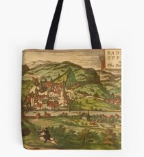 Baden Vintage map.Geography Germany ,city view,building,political,Lithography,historical fashion,geo design,Cartography,Country,Science,history,urban Tote Bag