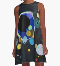 Abstract Kandinsky Painting black and blue A-Line Dress