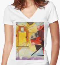 Yellow and Blue Kandinsky painting Women's Fitted V-Neck T-Shirt