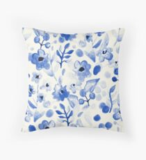 Blue China - Watercolor Floral Throw Pillow