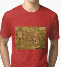 Cambridge Vintage map.Geography Great Britain ,city view,building,political,Lithography,historical fashion,geo design,Cartography,Country,Science,history,urban Tri-blend T-Shirt