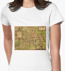 Cambridge Vintage map.Geography Great Britain ,city view,building,political,Lithography,historical fashion,geo design,Cartography,Country,Science,history,urban Women's Fitted T-Shirt
