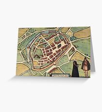Chimay Vintage map.Geography Belgium ,city view,building,political,Lithography,historical fashion,geo design,Cartography,Country,Science,history,urban Greeting Card