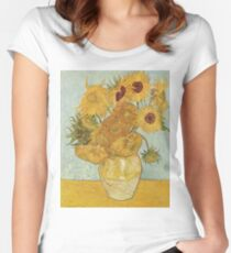 Sunflowers by Vincent Van Gogh Women's Fitted Scoop T-Shirt