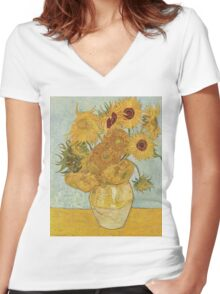 Sunflowers by Vincent Van Gogh Women's Fitted V-Neck T-Shirt