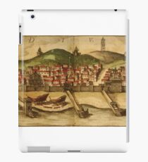 Diu Vintage map.Geography India ,city view,building,political,Lithography,historical fashion,geo design,Cartography,Country,Science,history,urban iPad Case/Skin