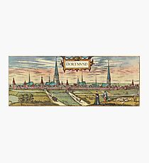 Dortmund Vintage map.Geography Germany ,city view,building,political,Lithography,historical fashion,geo design,Cartography,Country,Science,history,urban Photographic Print