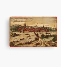 Frankfurt An Der Oder Vintage map.Geography Germany ,city view,building,political,Lithography,historical fashion,geo design,Cartography,Country,Science,history,urban Canvas Print