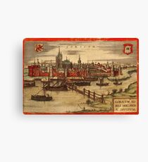 Gorinchem Vintage map.Geography Netherlands ,city view,building,political,Lithography,historical fashion,geo design,Cartography,Country,Science,history,urban Canvas Print