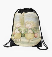 2 little pigs by Beatrix Potter Drawstring Bag