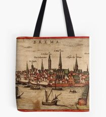Bremen Vintage map.Geography Germany ,city view,building,political,Lithography,historical fashion,geo design,Cartography,Country,Science,history,urban Tote Bag