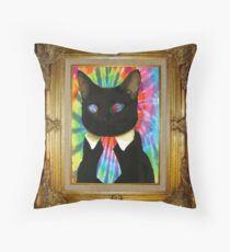 Psychedelic Business Cat Throw Pillow