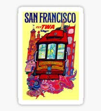 """""""TWA AIRLINES"""" Fly to San Francisco Advertising Print Sticker"""