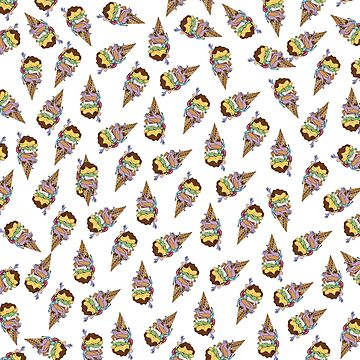 Rainbow Human Ice Cream Pattern by wontondoodles