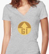 GI Badge - Desert Fatigues Women's Fitted V-Neck T-Shirt