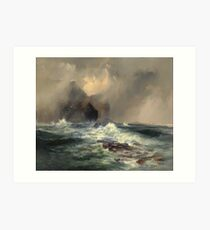 Thomas Moran - Fingal's Cave, Island Of Staffa, Scotland 1884. Sea landscape: sea view, Island,  Scotland, sailing boat, coast seaside, waves and beach, marine, seascape, sun clouds, nautical, ocean Art Print