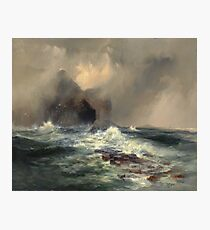 Thomas Moran - Fingal's Cave, Island Of Staffa, Scotland 1884. Sea landscape: sea view, Island,  Scotland, sailing boat, coast seaside, waves and beach, marine, seascape, sun clouds, nautical, ocean Photographic Print