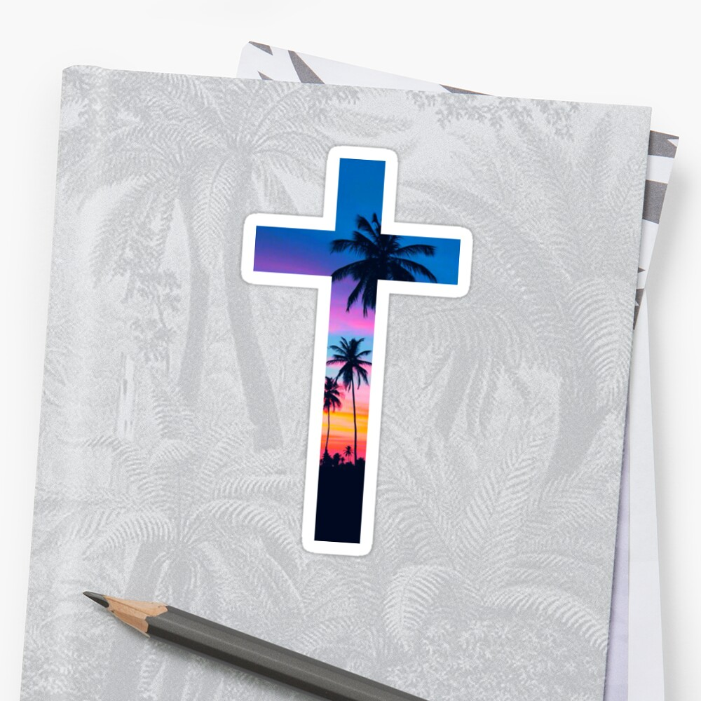 """Religious Flat Acrylic: """"Christian Cross"""" Stickers By Bethel Store"""