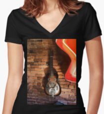 Vintage Guitar Women's Fitted V-Neck T-Shirt