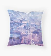 Lavender Salzburg at Night Print Throw Pillow