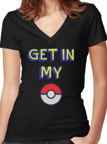 Get In My Pokeball Women's Fitted V-Neck T-Shirt
