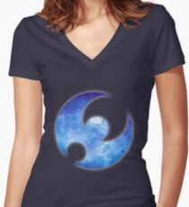 Pokémon Moon Logo Space Women's Fitted V-Neck T-Shirt