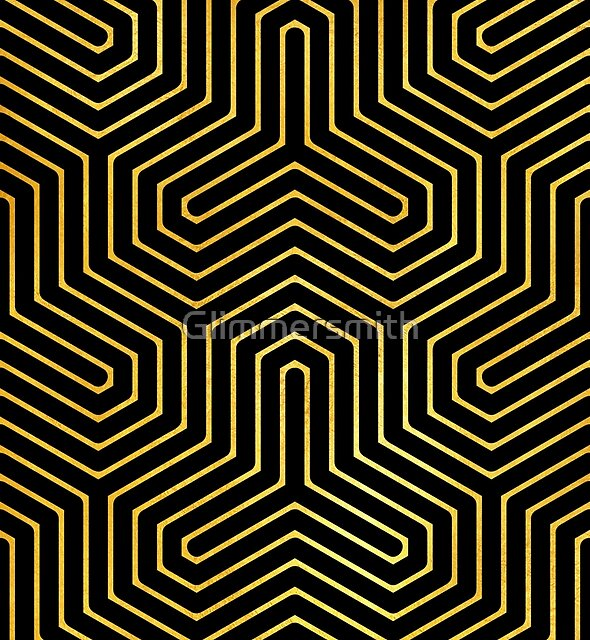 Disco Days black, gold Modern Geometric Op Art by Glimmersmith