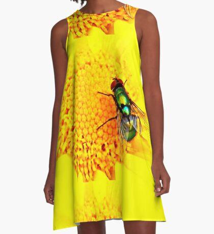 Green Bottle Fly on Yellow Flower A-Line Dress
