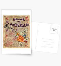 Rabbit Welcome To .. Alice In Wonderland Postcards