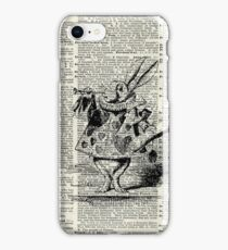White Rabbit,Alice in Wonderland,Ink Illustration,Dictionary Art iPhone Case/Skin